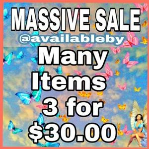 "Pick 3 items marked ""3/$30"" Pay only $30 for all 3"
